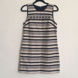 J.Crew Striped scalloped dress with grommets 6T
